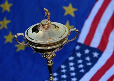 Ryder Cup trophy and flags