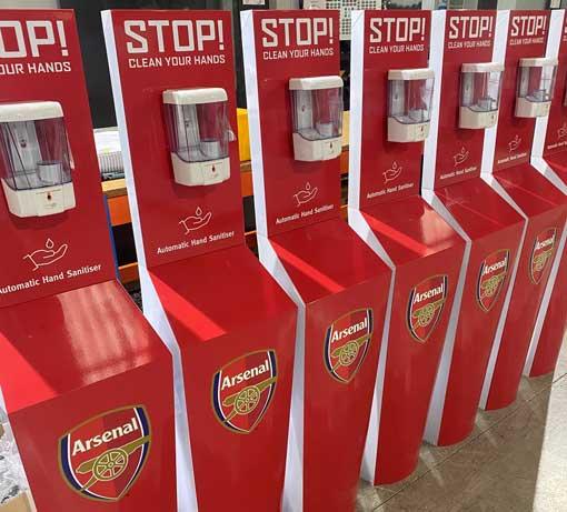 arsenal hand sanitiser stations